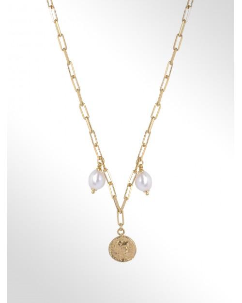 Collana in argento con perle e moneta - Silberhalskette mit Perle una Muenze - Collier en argent avec perle et pièce