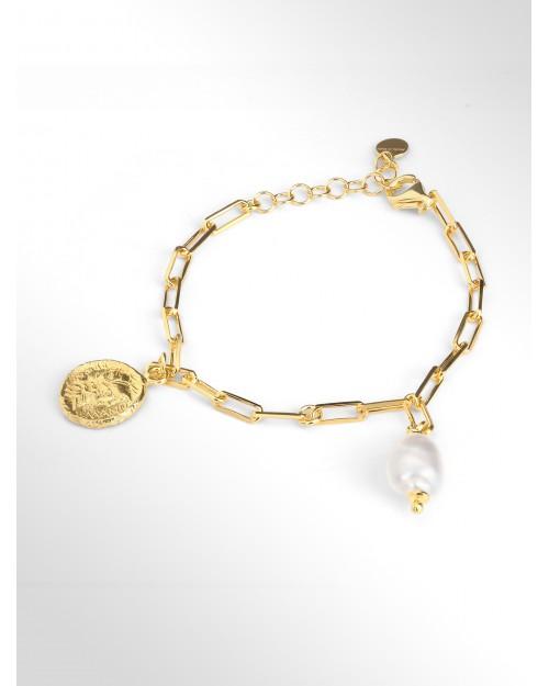 Bracciale in argento con perle e moneta - Silberarmband mit Perle und Muenze - Pulsera en plata con perla y moneta