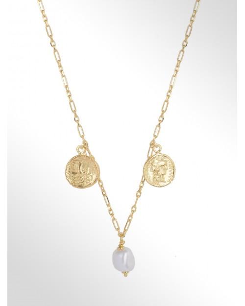 Collana in argento con perle e charm - Silberhalskette mit Perle und Muenzen - Collar de plata con perla y moneda