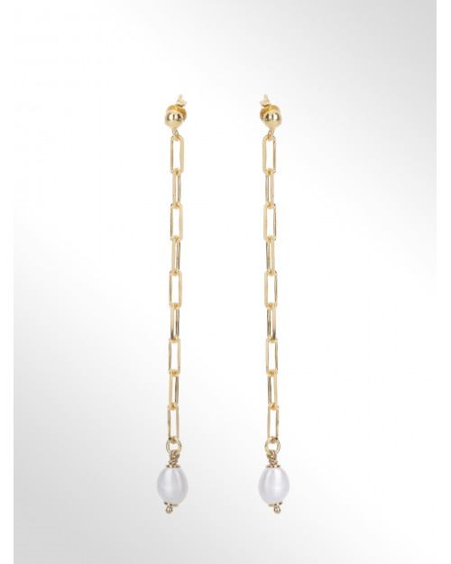 """Earrings with pearls """"baroque"""" - Silver paperclip chain earrings with pearls - Silverohrringe mit Perle"""
