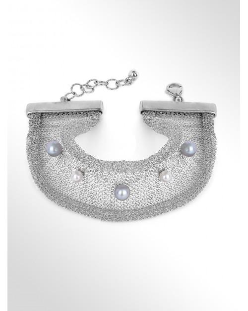 Bracciale in tessuto d'argento