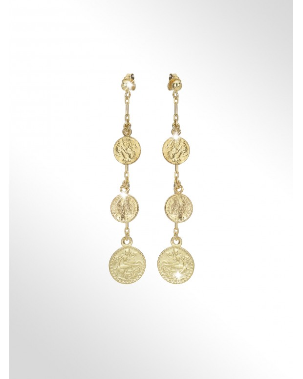 Silver earrings with coins...