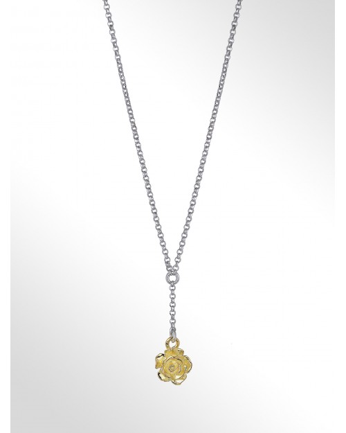 """Sterling silver necklace with charm """"pink"""" - Silver necklace with rose charm"""