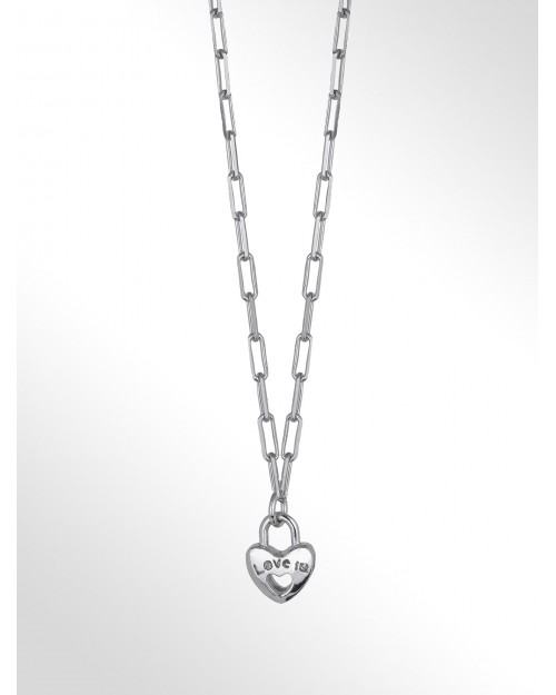 Sterling silver necklace with charm - Silver paper clip chain necklace