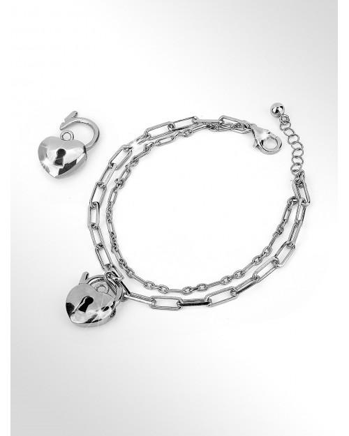 Bracciale in argento 2-in-1 - Silver paper clip chain bracelet