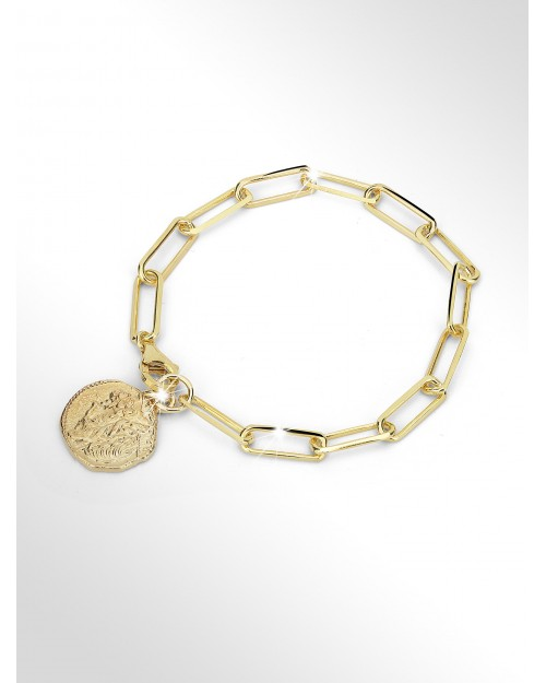 Bracciale in argento con charm moneta antica - Silver paper clip chain bracelet with antique coin charm