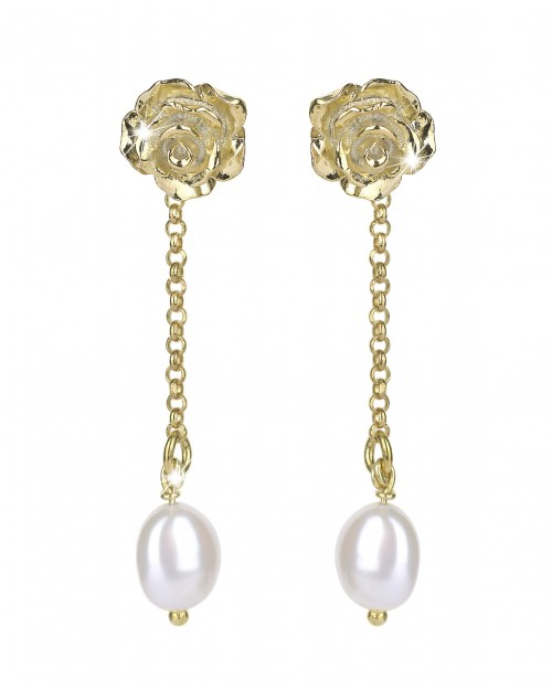 Earrings in silver 2-in-1 with beads - Silver earrings with pearls