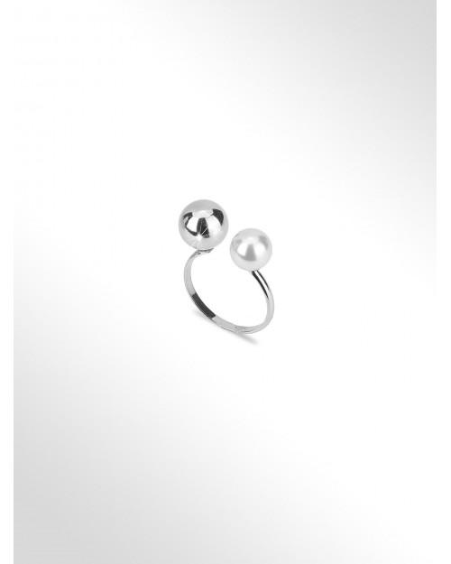 Anello in argento - Silberring - Anneau avec perle - Anillo de plata con perla y bola