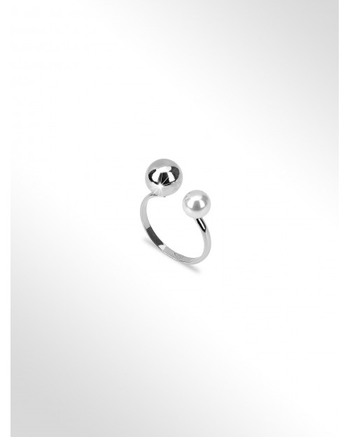 Silver ring - Silver ring with shining bead and pearl - Silberring