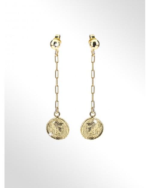 Orecchini con monete in argento - Silver earrings paper clip chain with coins - Silberohrringe mit Muenzen