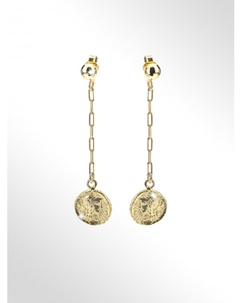 Earrings with silver coins - Silver earrings, paper clip chain with coins - Silberohrringe mit Muenzen