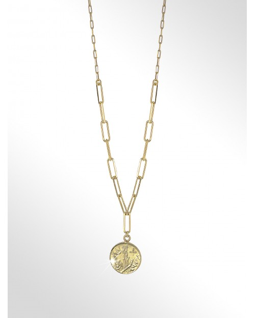 Necklace with coin silver - Silver paper clip chain with coin - Silberhalskette mit Muenze