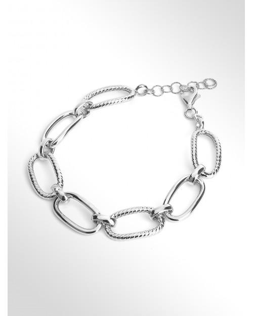 SILVER BRACELET - Silver hollow chain bracelet - Silberarmband